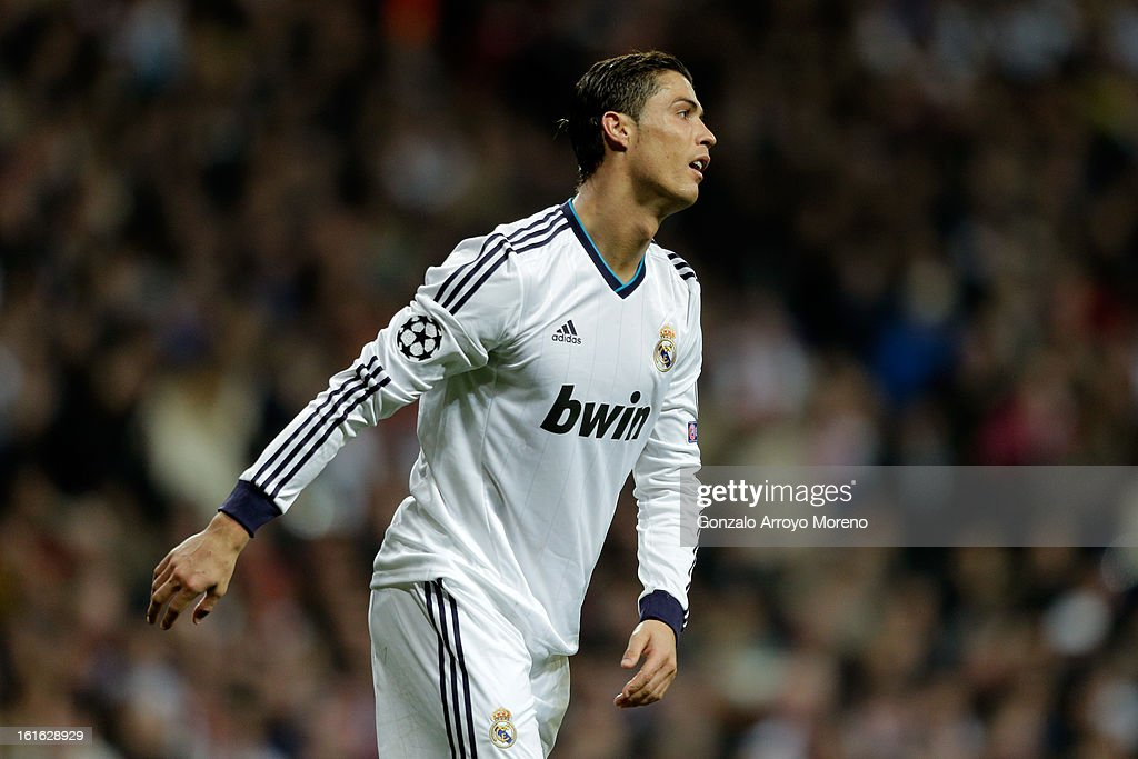 Cristiano Ronaldo of Real Madrid reacts to a missed chance during the UEFA Champions League Round of 16 first leg match between Real Madrid and Manchester United at Estadio Santiago Bernabeu on February 13, 2013 in Madrid, Spain.