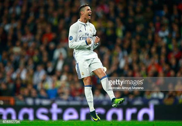 Cristiano Ronaldo of Real Madrid reats during the UEFA Champions League Group F match between Real Madrid CF and Borussia Dortmund at the Bernabeu on...