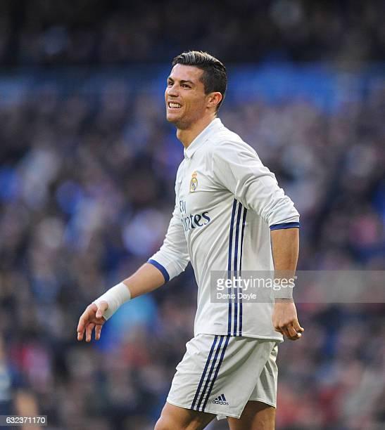 Cristiano Ronaldo of Real Madrid rues a missed shot at goal during the La Liga match between Real Madrid CF and Malaga CF at the Bernabeu on January...