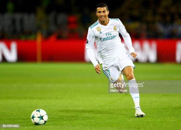 Cristiano Ronaldo of Real Madrid runs with the ball during the UEFA Champions League group H match between Borussia Dortmund and Real Madrid at...