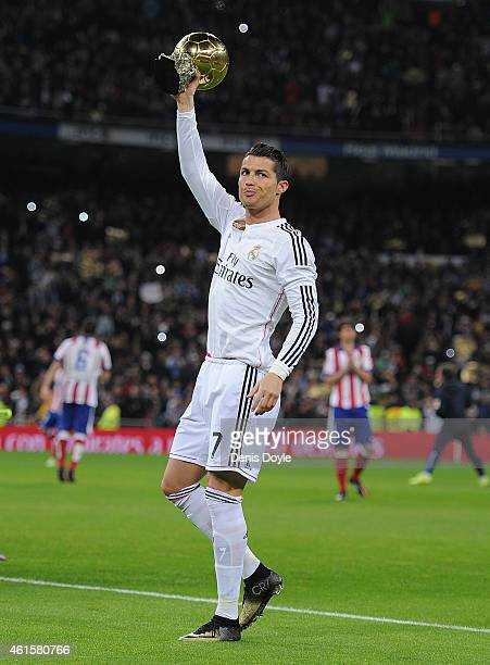 Cristiano Ronaldo of Real Madrid salutes with his FIFA Ballon d'Or before the Copa del Rey Round of 16 Second leg match between Real Madrid and...