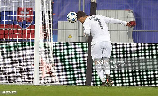 L'VIV UKRAINE NOVEMBER 25 Cristiano Ronaldo of Real Madrid score the goal during the UEFA Champions League Group A match between FC Shakhtar Donetsk...