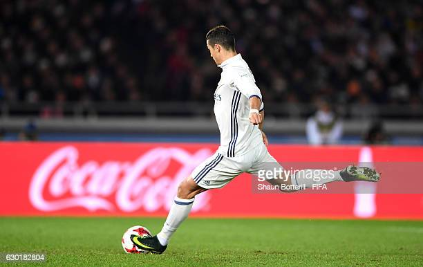 Cristiano Ronaldo of Real Madrid scores his sides second goal from the penalty spot during the FIFA Club World Cup Final match between Real Madrid...