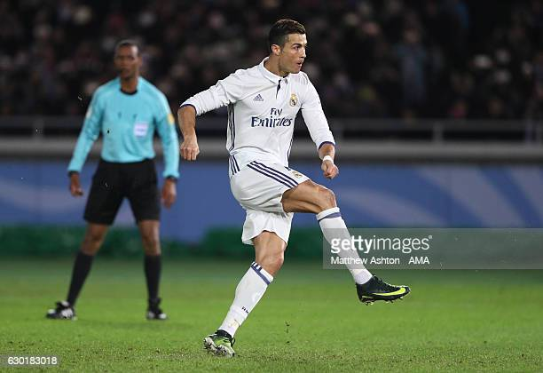 Cristiano Ronaldo of Real Madrid scores his team's second goal to make the score 22 during the FIFA Club World Cup final match between Real Madrid...