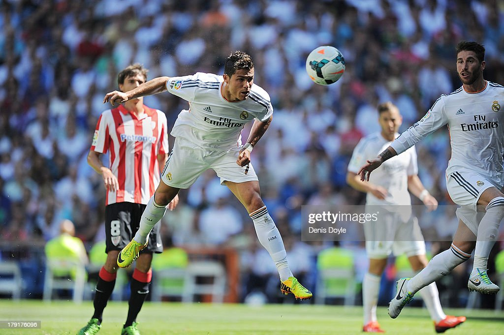 Cristiano Ronaldo of Real Madrid scores Real's 2nd goal during the La Liga match between Real Madrid CF and Athletic Club Bilbao at estadio Santiago Bernabeu on September 1, 2013 in Madrid, Spain.