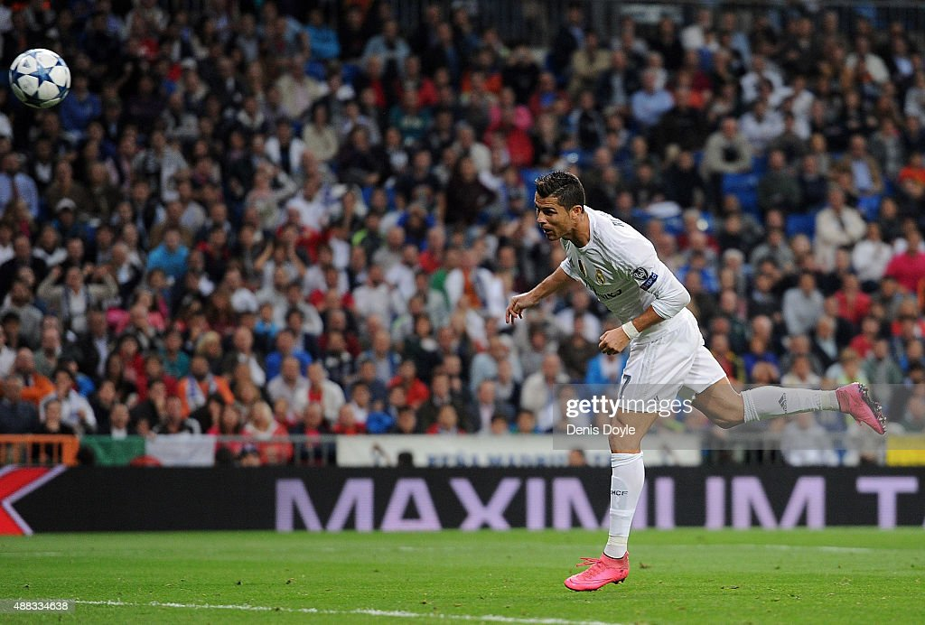 Cristiano Ronaldo of Real Madrid scores Real's 4th goal during the UEFA Champions League Group A match between Real Madrid and Shakhtar Donetsk at...