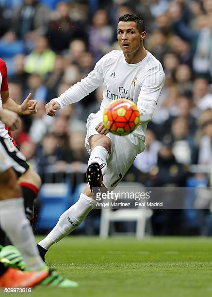Cristiano Ronaldo of Real Madrid scores the opening goal during the La Liga match between Real Madrid CF and Athletic Club at Estadio Santiago...