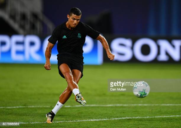 Cristiano Ronaldo of Real Madrid shoots during a training session ahead of the UEFA Super Cup at the National Arena Filip II Macedonian on August 7...