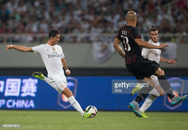Cristiano Ronaldo of Real Madrid shoots the ball during the International Champions Cup football match between AC Milan and Real Madrid at Shanghai...