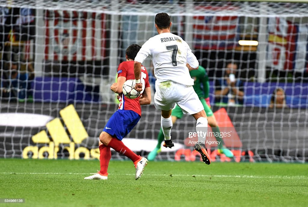 Cristiano Ronaldo of Real Madrid shoots the ball during the UEFA Champions League Final between Real Madrid CF and Atletico Madrid at the Giuseppe Meazza Stadium in Milan, Italy on May 28, 2016 in Milan, Italy.