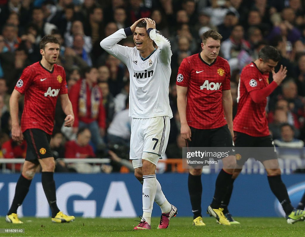 Cristiano Ronaldo of Real Madrid shows his disappointment at a missed chance during the UEFA Champions League Round of 16 first leg match between Real Madrid and Manchester United at Estadio Santiago Bernabeu on February 13, 2013 in Madrid, Spain.