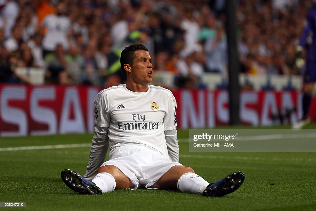 Cristiano Ronaldo of Real Madrid sits on the pitch during the UEFA Champions League Semi Final second leg match between Real Madrid and Manchester City FC at Estadio Santiago Bernabeu on May 4, 2016 in Madrid, Spain.