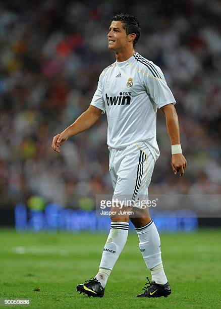 Cristiano Ronaldo of Real Madrid smiles during the Santiago Bernabeu Trophy match between Real Madrid and Rosenborg at the Santiago Bernabeu stadium...