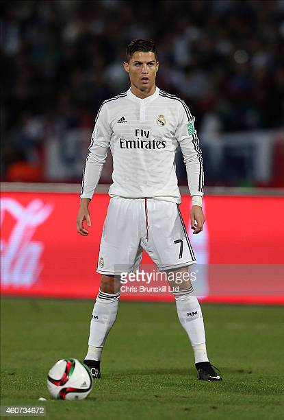 Cristiano Ronaldo of Real Madrid stands over a freekick during the FIFA Club World Cup Final match between Real Madrid CF and San Lorenzo at...