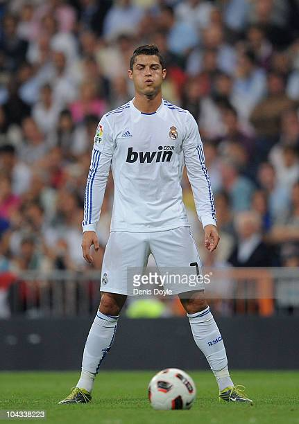 Cristiano Ronaldo of Real Madrid takes a free kick during the La Liga match between Real Madrid and Espanyol at Estadio Santiago Bernabeu on...