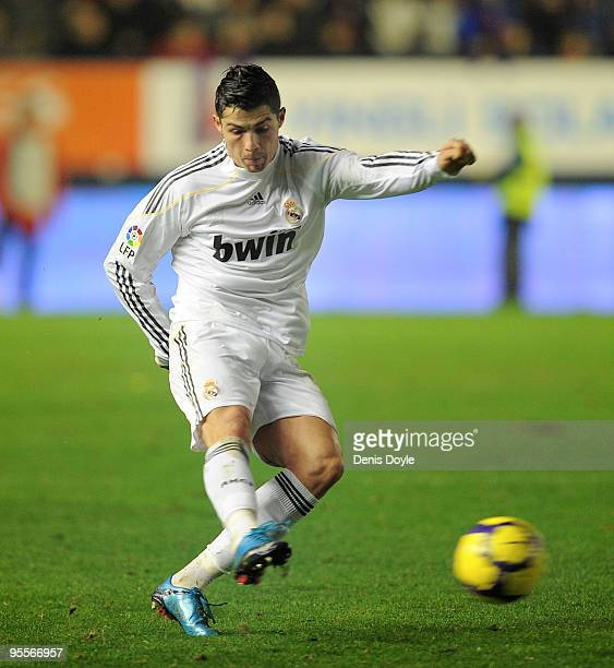 Cristiano Ronaldo of Real Madrid takes a free kick during the La Liga match between CA Osasuna and Real Madrid at the Reyno de Navarra stadium on...