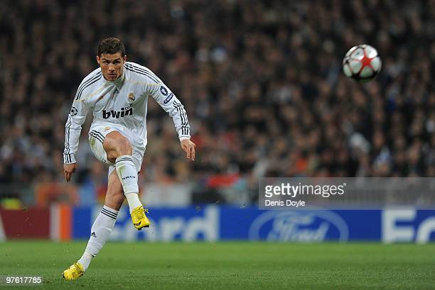 Cristiano Ronaldo of Real Madrid takes a free kick during the UEFA Champions League round of 16 2nd leg match between Real Madrid and Olympique...