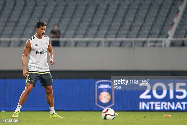 Cristiano Ronaldo of Real Madrid takes part in a training session at Shanghai Stadium ahead of the International Champions Cup football match between...