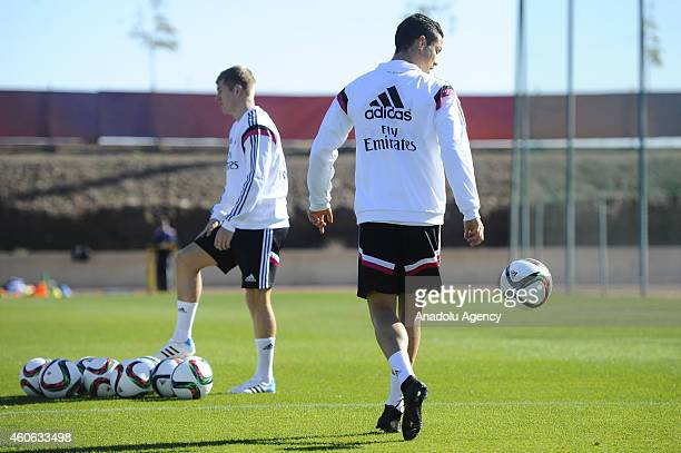 Cristiano Ronaldo of Real Madrid trains ahead of final of the FIFA Club World Cup football match between Real Madrid and San Lorenzo to be played on...