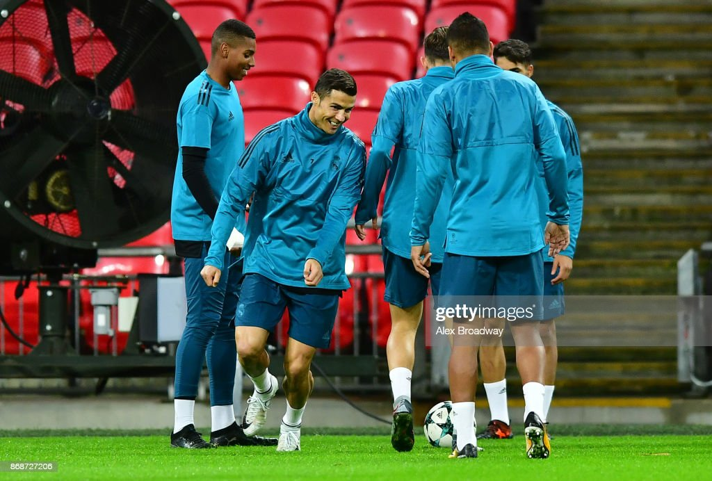 Cristiano Ronaldo of Real Madrid trains during a training session ahead of their UEFA Champions League Group H match against Tottenham Hotspur at Wembley Stadium on October 31, 2017 in London, England.