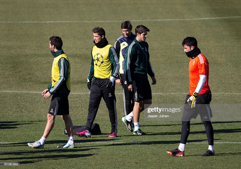 Cristiano Ronaldo (2nd L) of Real Madrid walks amid his teammates during a training session ahead of the UEFA Champions League match between Real Madrid CF and Manchester United at the Valdebebas training ground on February 12, 2013 in Madrid, Spain.