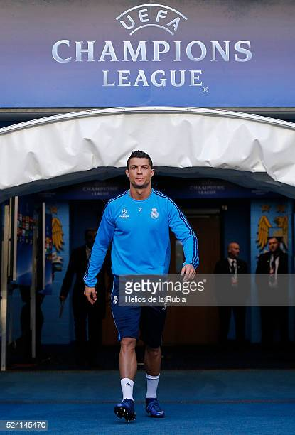 Cristiano Ronaldo of Real Madrid warm up during a training session ahead of the UEFA Champions League Semi Final match between Manchester City FC and...