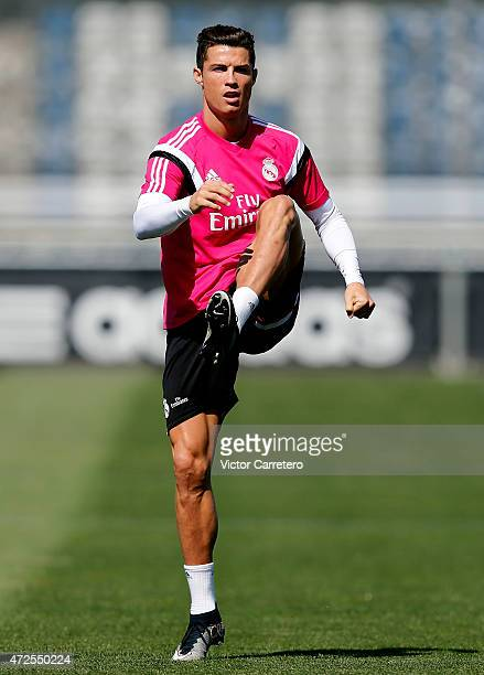 Cristiano Ronaldo of Real Madrid warms up during a training session at Valdebebas training ground on May 8 2015 in Madrid Spain