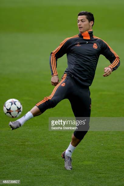 Cristiano Ronaldo of Real Madrid warms up during a training session at Signal Iduna Park prior to the UEFA Champions League quarterfinal match...