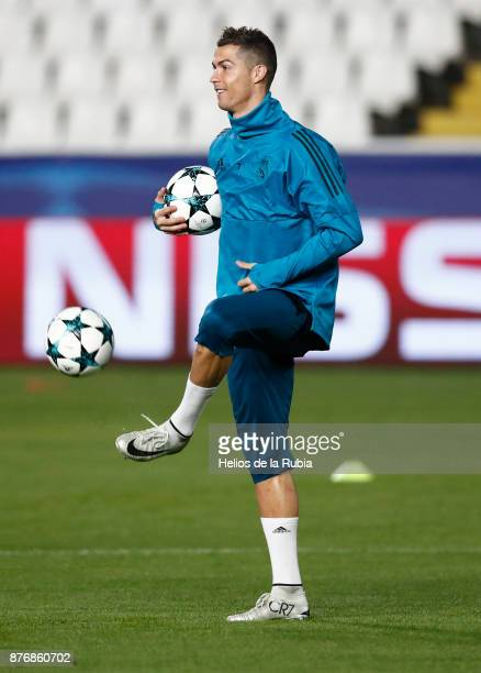 Cristiano Ronaldo of Real Madrid warms up during the UEFA Champions League group H match between APOEL Nikosia and Real Madrid at GSP Stadium on...