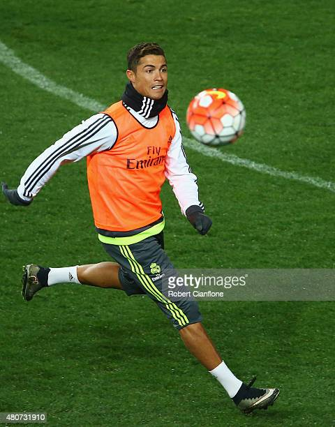 Cristiano Ronaldo of Real Madrid watches the ball during Real Madrid training session at Melbourne Cricket Ground on July 15 2015 in Melbourne...