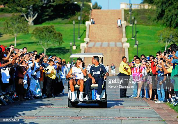 Cristiano Ronaldo of Real Madrid waves goodbye after the last training session on the campus of UCLA on August 6 2010 inthe Westwood section Los...
