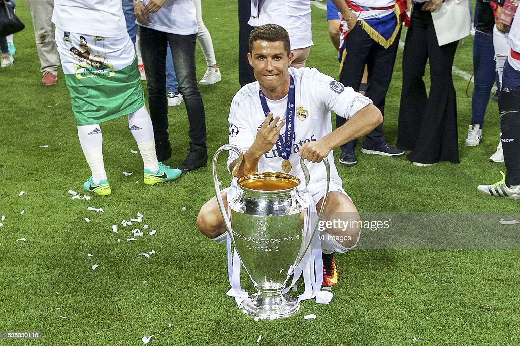 Cristiano Ronaldo of Real Madrid with Champions League trophy, Coupe des clubs Champions Europeeens during the UEFA Champions League final match between Real Madrid and Atletico Madrid on May 28, 2016 at the Giuseppe Meazza San Siro stadium in Milan, Italy.