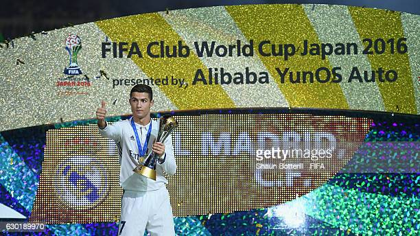 Cristiano Ronaldo of Real Madrid with the FIFA Club World Cup Trophy after the FIFA Club World Cup final match between Real Madrid and Kashima...