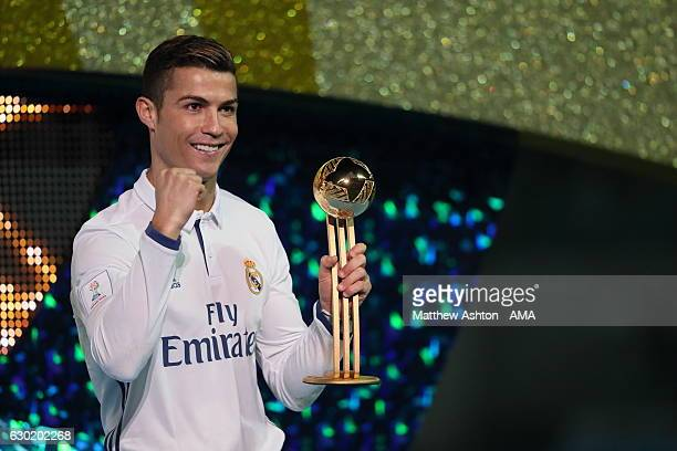 Cristiano Ronaldo of Real Madrid with the Golden Boot Trophy after the FIFA Club World Cup final match between Real Madrid and Kashima Antlers at...