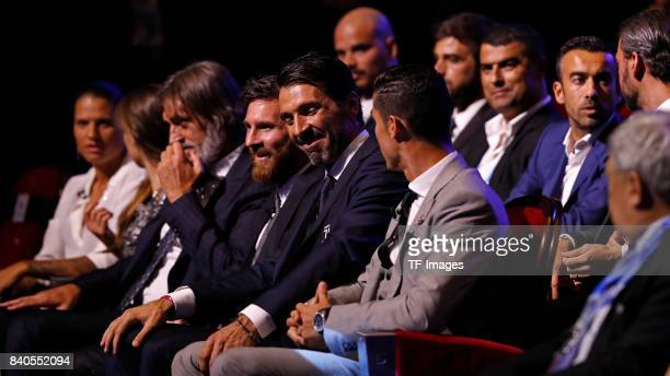 Cristiano Ronaldo of Real MadridLionel Messi of Barcelona and Gianluigi Buffon of Juventus looks on during the UEFA Champions League Group stage draw...