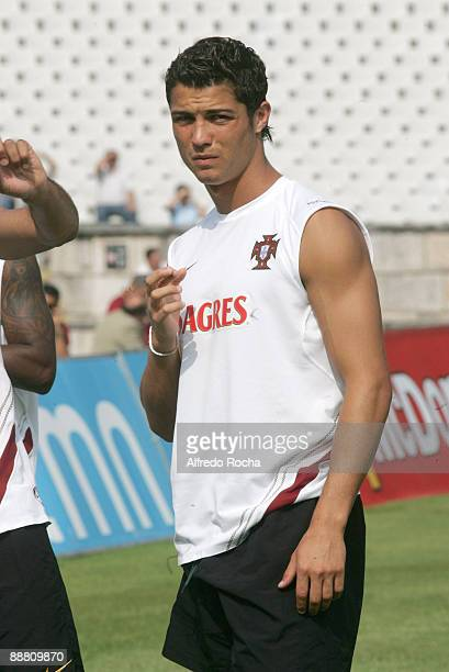 Cristiano Ronaldo of the Portugal National Team training at National Stadium in Lisbon The 23 players are now available and Scolari wants to improve...