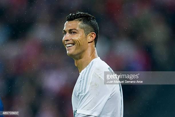 Cristiano Ronaldo ofReal Madrid CF reactsduring the La Liga match between Athletic Club Bilbao and Real Madrid CF at San Mames Stadium on September...