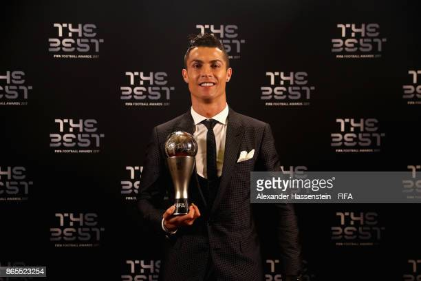 Cristiano Ronaldo poses for a photo with his The Best FIFA Men's Player award after The Best FIFA Football Awards at The London Palladium on October...