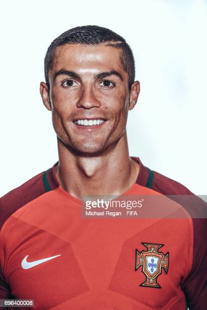 Cristiano Ronaldo poses for a picture during the Portugal team portrait session on June 15 2017 in Kazan Russia