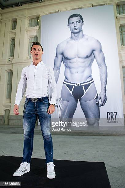 Cristiano Ronaldo poses in front of a 19m high billboard during the global launch of the CR7 by Cristiano Ronaldo Underwear line at the Palacio de...
