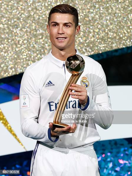 Cristiano Ronaldo poses with the trophy of champions the FIFA Club World Cup Final match between Real Madrid and Kashima Antlers at International...
