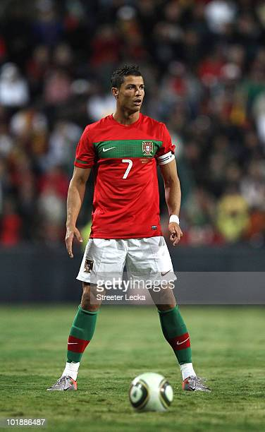 Cristiano Ronaldo prepares to take a free kick during the international friendly match at Wanderers Stadium on June 8 2010 in Johannesburg South...