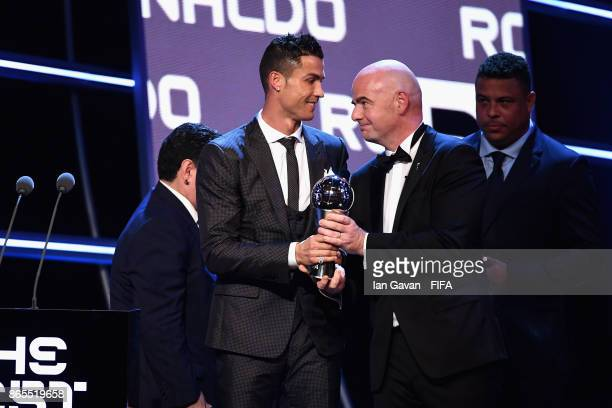 Cristiano Ronaldo recieves The Best FIFA Men's Player award by FIFA President Gianni Infantino during The Best FIFA Football Awards at The London...