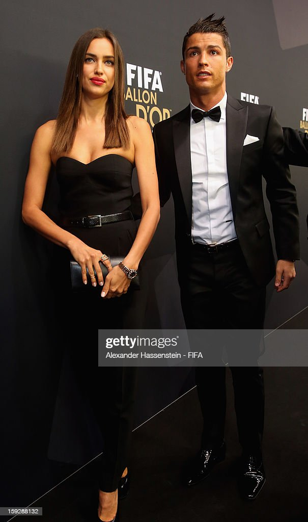 <a gi-track='captionPersonalityLinkClicked' href=/galleries/search?phrase=Cristiano+Ronaldo+-+Soccer+Player&family=editorial&specificpeople=162689 ng-click='$event.stopPropagation()'>Cristiano Ronaldo</a> with his girlfriend Irina Shayk during the red carpet arrivals at the FIFA Ballon d'Or Gala 2012 at the Kongresshaus on January 7, 2013 in Zurich, Switzerland.