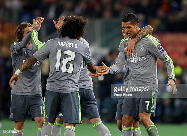 Cristiano Ronaldo with Marcelo of Real Madrid CF celebrates after scoring the opening goal during the UEFA Champions League round of 16 first leg...