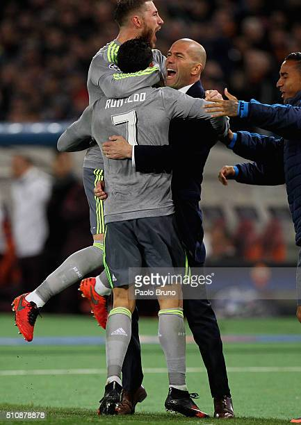 Cristiano Ronaldo with Sergio Ramos and Zinedine Zidane of Real Madrid CF celebrates after scoring the opening goal during the UEFA Champions League...