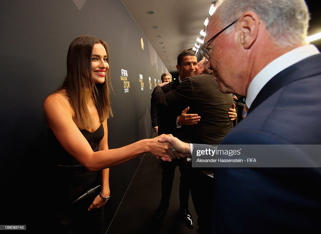 <a gi-track='captionPersonalityLinkClicked' href=/galleries/search?phrase=Cristiano+Ronaldo+-+Soccer+Player&family=editorial&specificpeople=162689 ng-click='$event.stopPropagation()'>Cristiano Ronaldo</a>'s girlfriend Irina Shayk is greeted by Franz Beckenbaur during the red carpet arrivals at the FIFA Ballon d'Or Gala 2012 at the Kongresshaus on January 7, 2013 in Zurich, Switzerland.