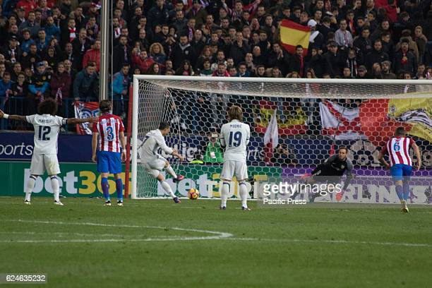 Cristiano shoot to Goal in the second Goal of Madrid from penalty kick Real Madrid beats Atletico de Madrid by 3 to 0 in the last League derby in...