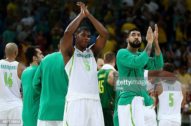 Cristiano Silva Felicio of Brazil acknowledges the crowd with his team after losing 7682 against Brazil during a Men's preliminary round basketball...