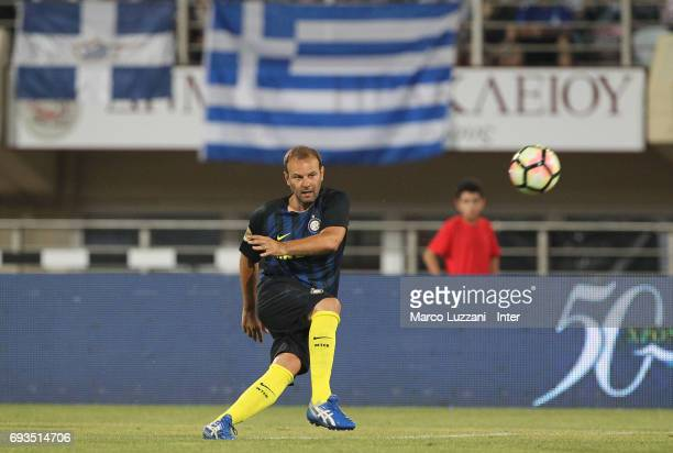 Cristiano Zanetti of Inter Forever in action during the friendlt match between Greece 2004 and Inter Forever at Pankrition Stadium on June 7 2017 in...